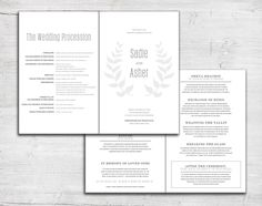 Leaf Folded Wedding Program For Jewish Marriage Ceremony Or Catholic Mass Order Of Service Bulletin Also Available As Printable Digital Files