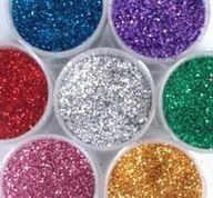 Edible glitter. Sugar, mix with good colouring & bake for 10 minutes.