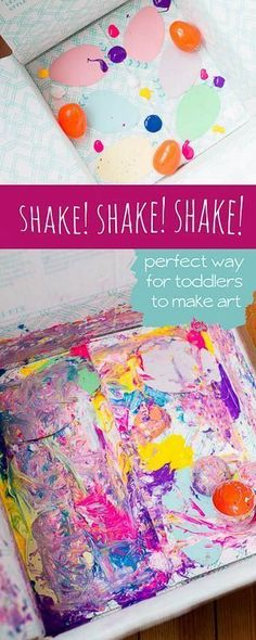 Add paper cutouts, hard plastic toys, and blobs of paint to a box - close up and shake! Art Activities For Toddlers, Painting Activities, Gross Motor Activities, Outdoor Activities For Kids, Toddler Preschool, Toddler Crafts, Preschool Activities, Creative Activities, Kid Crafts