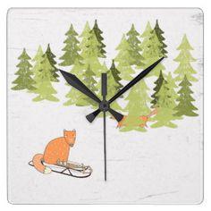 Wintertime- Sledding  Fox - Illustration Square Wall Clock