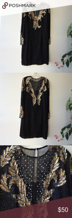 Vintage sequin dress Fun vintage gold silver and black sequin dress Other