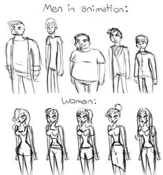 Men and women in animation. Spot the difference? We need feminism. Fight for gender equality. Intersectional Feminism, Women Rights, Patriarchy, Equal Rights, Faith In Humanity, Social Issues, Body Image, Tumblr Art, Animation