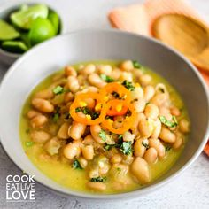 Vegan Peruvian beans start with creamy, buttery canary beans, then add some flavor. The results are a delicious, slightly spicy bowl of beans. Veggie Recipes, Water Recipes, Vegetarian Recipes, Healthy Recipes, Weekly Recipes, Veggie Food, Healthy Meals, Yummy Recipes, Healthy Food
