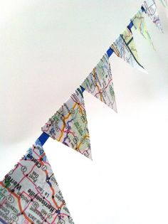 The Craft Tutor: Make Bunting with Maps and Ribbon #maps #travel #diy