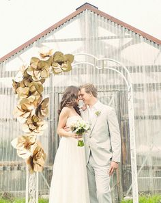 Gold Paper Flowers Wedding Would Put Branches And Xmas Lights Throughout The Archway Tho