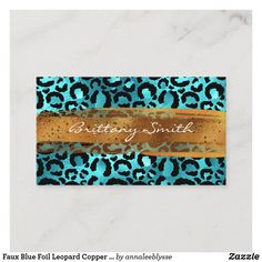 Faux Blue Foil Leopard Copper Brush Stroke Busi Business Card Create Your Own, Create Yourself, Online Gifts, Zazzle Invitations, Brush Strokes, Business Cards, Personalized Gifts, Anna Lee, Copper