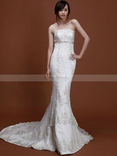 Strapless Mermaid Wedding Dress with Beaded Applique 1008030