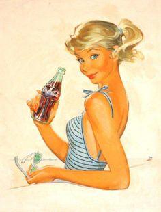 Pete Hawley- pin up girl art coca cola ad Coca Cola Poster, Coca Cola Ad, Always Coca Cola, Coke Ad, Pepsi, Coca Cola Bottles, Coca Cola Vintage, Pin Ups Vintage, Vintage Pins