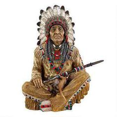 Noble Feathers Native American Statue