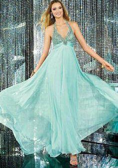 Chiffon Sheath/ Column Floor Length Empire Halter Prom Gowns - Lunadress.co.uk