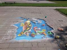 3D chalk drawings - super mario
