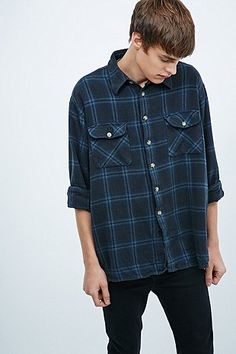 Urban Renewal Vintage Customised Overdyed Plaid Shirt in Grey - Urban Outfitters