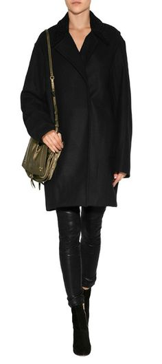 Detailed with a textural lamb fur collar, this cocoon coat from A.L.C. is a luxe modern choice for chilly days #Stylebop