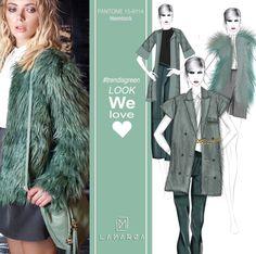 LAMARCA Look We Love  #trendisgreen #trend #mood #fashion #hemlock #pantone #mood #collection #fw #seadon #mfw15 #drawing #sketches #sololamarca #ecofur #coat #jumpsuit #college #girl #solotopbrand #sololamarca #madewhitelove #madeinitaly  #cometovisitus www.lamarcaofficial.com