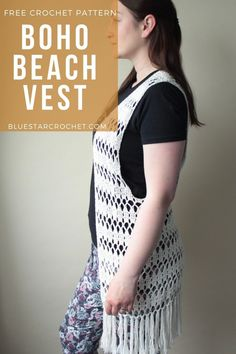 Summer is just around the corner so get ready with this Summer Beach Vest crochet pattern. It's almost time for some fun in the sun wearing this boho style crochet vest! Crochet Vest Pattern, Free Pattern, Crochet Patterns, Free Crochet, Crochet Tops, Selling Crochet, Crochet Clothes, Bohemian, Boho Fashion