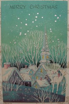 Silvered Turquoise Blues Snow Village 50's Vintage Christmas Greeting Card | eBay