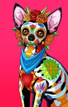 Day of the Dead Dog Chihuahua Art Print -