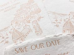 One of the things we love about designing for our clients is learning about their venues. The charm, the setting, the aesthetic...🤍 When our recent couple's destination venue happens to be one tucked within the Amalfi Coast, well its natural beauty just designs itself. 🤍 Having this gorgeous save the date letter-pressed into handmade paper added to how stunning it is in hand. We are so excited for their guests to receive these. Custom Stationery, Stationery Design, Custom Invitations, Amalfi Italy, Amalfi Coast, Letterpress, Save The Date, Natural Beauty, Dating