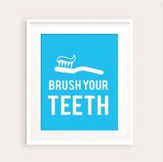 New to fudemori on Etsy: Brush Your Teeth Kids Bathroom Art Print 0113a printable pdf Bathroom decor Flush Wash Hang bathroom rules (5.50 USD)