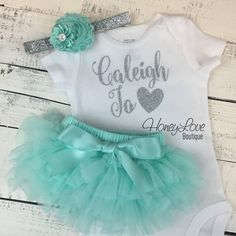PERSONALIZED SET silver glitter shirt bodysuit, mint aqua tutu skirt bloomers, flower headband, newborn baby girl take home hospital outfit