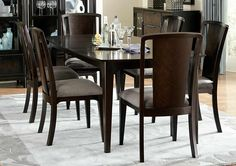 Palisades Collection 5 piece Dining Set Includes Table and 4 Side Chairs. An elegant take on modern styling, the Palisades collection offers the perfect update for your dining space. A deep Cola finish adds richness to a refreshingly simple design. 5 Piece Dining Set, Dining Room Sets, Side Chairs, Dining Chairs, Dining Table, Smart Design, Bedroom Furniture Sets, Wood Bars, Contemporary