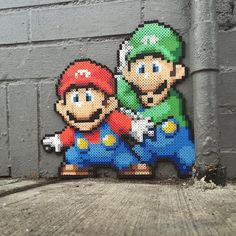 Mario and Luigi perler beads by nickgalilei