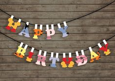 Winnie the Pooh Birthday Pennant Banner 2 (party, baby shower decoration, colourful simple garland prop) -Instant Download & Printable by Paperdoey on Etsy https://www.etsy.com/listing/264847527/winnie-the-pooh-birthday-pennant-banner
