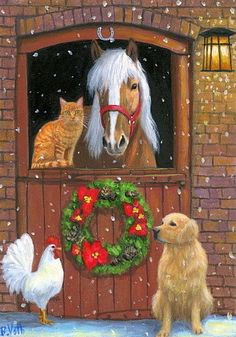 Horse Farm girl cat dog whimsy moon art Giclee ACEO print of painting Criswell Christmas Farm, Christmas Horses, Christmas Animals, Vintage Christmas, Christmas Time, Christmas Blessings, Christmas Scenes, Christmas Eve Pictures, Christmas Artwork