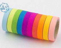 10 rolls Fluorescent Rainbow Washi Tape Neon 7.5mm -AT1025