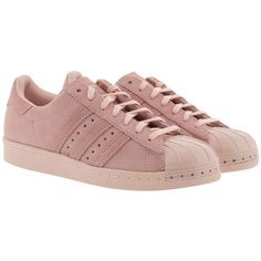 adidas Originals Sneakers - Superstar 80S Metal Icey Pink - in rose -... (1 395 SEK) ❤ liked on Polyvore featuring shoes, sneakers, rose, pink flat shoes, rose sneakers, striped sneakers, 80s sneakers and 1980s sneakers