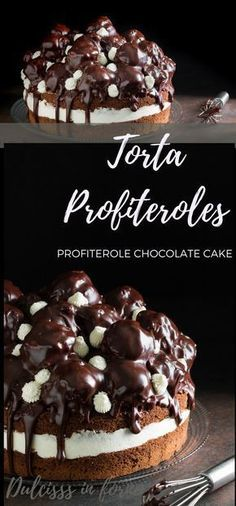 Profiteroles cake – Cream puff cake – Profitterol cake – Profiterole Chocola … - Easy Crafts for All Torte Cake, Cake & Co, Chocolate Cake Mix Recipes, Cake Recipes, Cream Puff Cakes, Super Torte, Food Cakes, Wedding Cakes With Cupcakes, Sweet Cakes