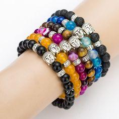 Black Lava Stone Buddha Beads Bracelets Rope Chain Natural Stone Bracelets For Women/ Men Jewelry pulseras pulsera brazalete