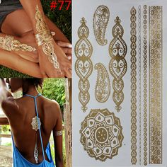 Cheap stickers bamboo, Buy Quality paint digital directly from China paint gold Suppliers:         6 PCS/ lot temporary tattoo women gold tattoo flash tattoos transferable jewelry henna tatoo body art sex produc