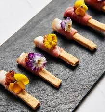 canapes display black sand - Google Search