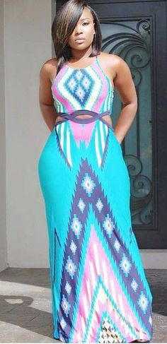 Plus Size Sleeveless African Dashiki Bodycon Maxi Dress