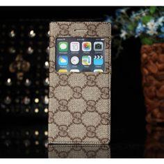 Coque Cuir iPhone 6 Gucci,étui pour iPhone 6 4.7-Brun