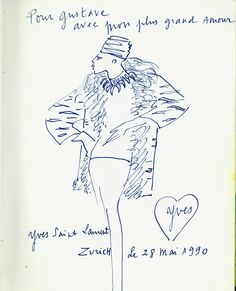 Sketch by Yves Saint Laurent for Gustav Zumsteg, 1990, courtesy of Hulda and Gustav Zumsteg Foundation, Zurich