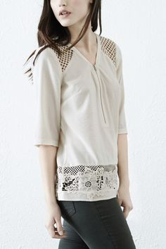 Tops | White AIRTEX AND LACE HEM TOP | Warehouse
