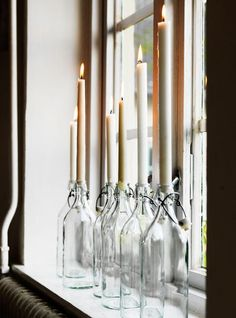 Decordots How is your Christmas decorating coming along? Just in case you need some beautiful Scandinavian Christmas deco. Bottle Candles, Wine Bottles, Glass Candle, Glass Bottles, Recycle Bottles, Candle Lamp, Empty Bottles, Clear Glass, Decoration Table