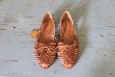 vintage nude leather Hurache sandals woven by ScottieinaCanoe, $32.00