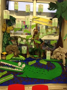 The Enormous Crocodile Display by Roald Dahl. Roald Dahl Stories, Roald Dahl Day, Roald Dahl Activities, Art Activities, Library Displays, Classroom Displays, Roald Dalh, The Enormous Crocodile, Literacy Display