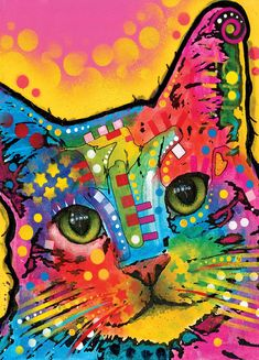 dean Russo Painting Cat Cats Feline Portrait Graffiti pop Art Pet Etsy Pets Pop Kitty Kittie Painting - Tilted Cat by Dean Russo Arte Pop, Painting Prints, Wall Art Prints, Canvas Prints, Art Paintings, Reno Animal, Tableau Pop Art, Photo Chat, Cat Posters
