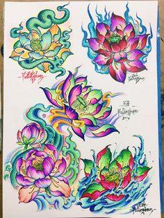 Japan Tattoo Design, Lotus Tattoo Design, Floral Tattoo Design, Flower Tattoo Designs, Flower Tattoos, Tattoo Sketches, Tattoo Drawings, Body Art Tattoos, Hand Tattoos