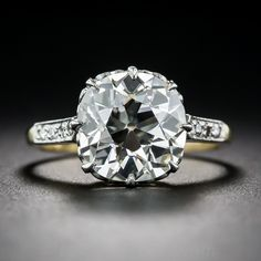 3.74 Carat Old Mine Cut Diamond Ring - 10-1-7192 - Lang Antiques