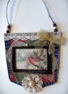A Robin's Nest: Jean Pockets Farmhouse Christmas Ornaments, Christmas Tree Ornaments, Christmas Bells, Christmas Projects, Christmas Crafts, Jean Crafts, Denim Crafts, Fabric Crafts, Sewing Crafts
