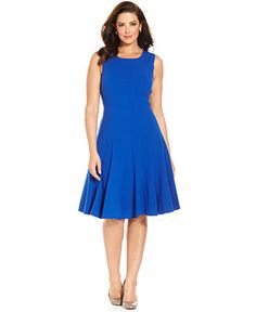 Plus Size Pleated A-Line Dress