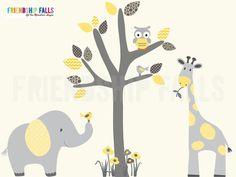 Mini Jungle Decals, Small elephant Wall Decal, Nursery Wall Decal, Giraffe, Friendship Falls wall decal, Limoncello Scene Grey Tree on Etsy, $42.00