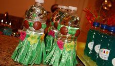 Luau decor for water bottles