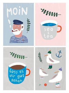 "Maritimes Postkarten Set mit 4 Illustrationen mit Seemann, Möwen, Meer und ""Moin"", toll als Deko oder zum Verschenken / maritime illustrated post card set with anchor, sea and sailor motives, perfect as home decoration or gift made by Anna Katharina Jansen Illustration via DaWanda.com"