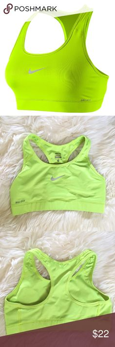 Nike Neon Yellow/Green Dri Fit Sports Bra In great condition, very minor mark on lower back that could probably be removed. Otherwise excellent bra. Compression dri fit in a neon yellow green color. With a low profile and racerback design, this Nike Victory compression sports bra is a versatile, everyday favorite. Perfect for medium-impact exercise. Moisture-wicking technology. Low-profile bonded seams. Racerback. Wire-free. ❌NO TRADES OR PAYPAL❌ Nike Intimates & Sleepwear Bras